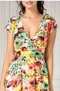 Rochie Dina clos cu imprimeu floral pastelat