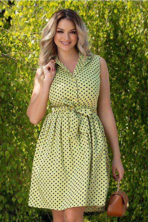 Rochie Dina verde deschis cu buline negre