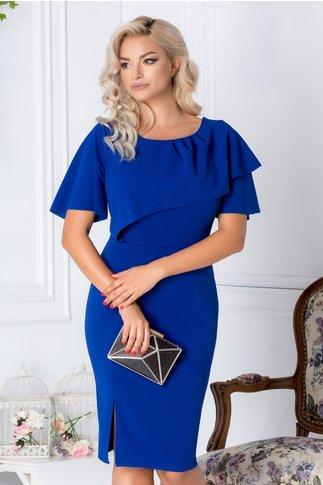 Rochie Dionia albastra de ocazie cu volanas