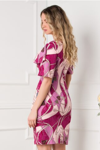 Rochie Dionia mov cu imprimeuri roz si volanas la bust