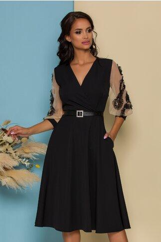 Rochie Dixie neagra cu maneci din tull accesorizate cu strasuri