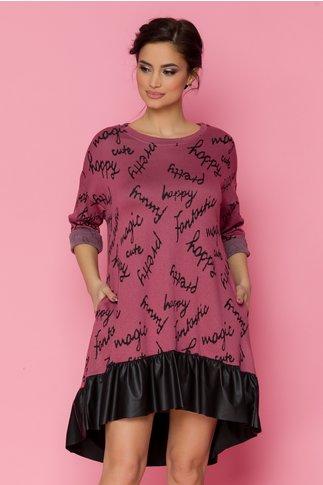 Rochie Doina roz cu imprimeu text