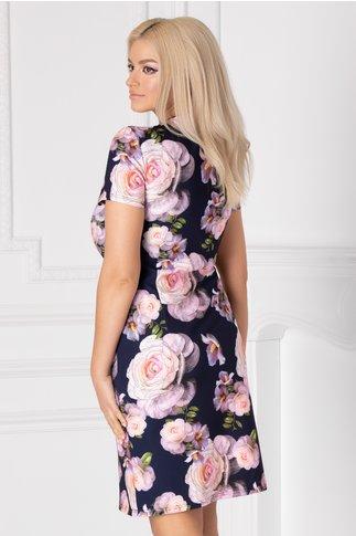 Rochie Dolly bleumarin cu imprimeu floral roz