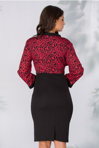 Rochie Dolly neagra cu animal print rosu
