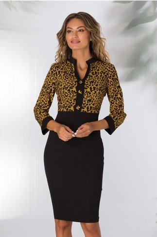 Rochie Dolly neagra cu imprimeu animal print galben mustar