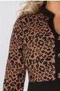 Rochie Dolly neagra cu imprimeu animal print maro