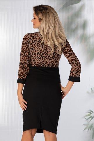 Rochie Dolly neagra cu animal print maro