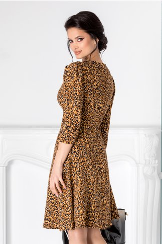 Rochie Dolores maro cu animal print