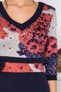 Rochie Dora bleumarin cu bust bej si imprimeuri diverse in nunate de caramiziu