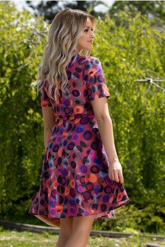 Rochie Dora caramiziu cu cercuri multicolore si nasturi