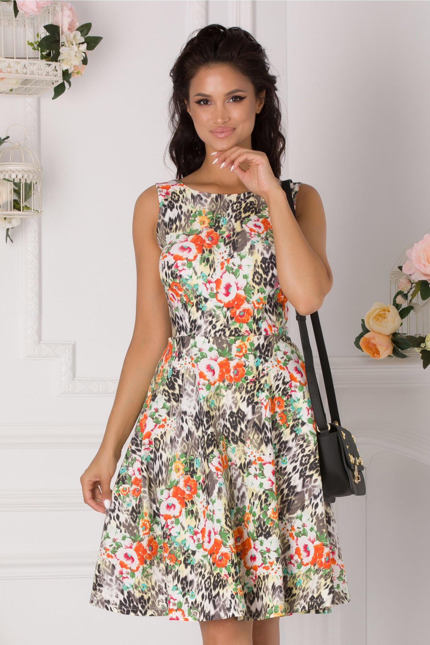 Rochie Dora cu animal print si flori orange