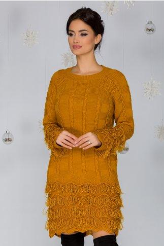 Rochie Dora galben mustar din tricot cu franjuri