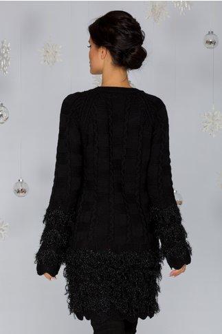 Rochie Dora neagra din tricot cu franjuri