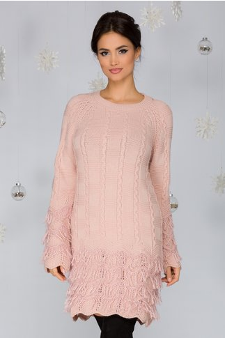 Rochie Dora roz din tricot cu franjuri