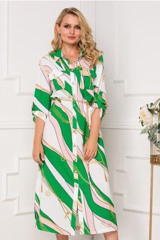 Rochie Dora tip camasa cu imprimeuri in nuante de roz si verde