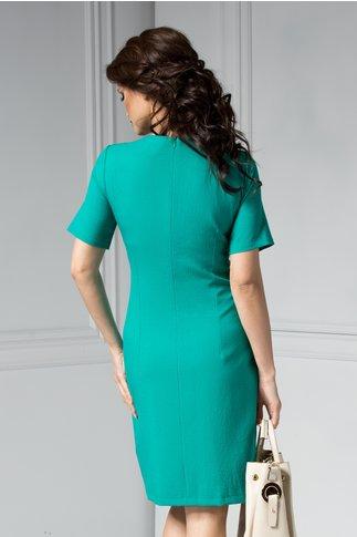 Rochie Dora verde cu aplicatii la guler midi office