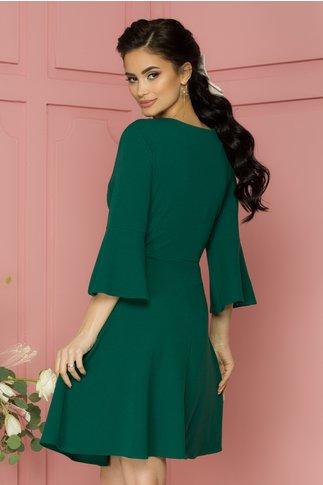 Rochie Dora verde cu nasture si decupaj discret la decolteu