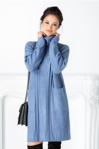 Rochie Doria albastra cu striatii si buzunare