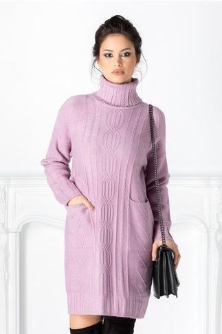 Rochie Doria lila cu striatii si buzunare