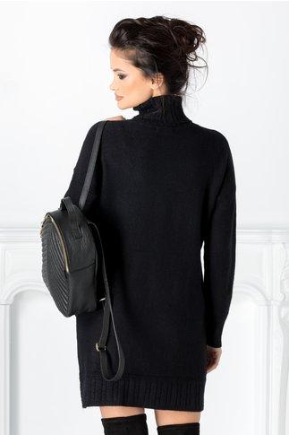 Rochie Doria neagra cu striatii si buzunare