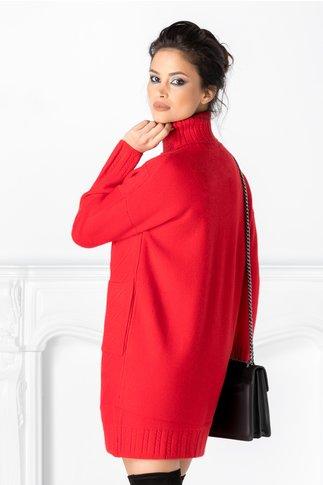 Rochie Doria rosie cu striatii si buzunare