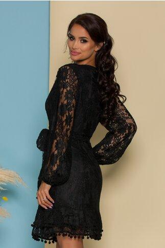 Rochie Doriana neagra din dantela cu design petrecut