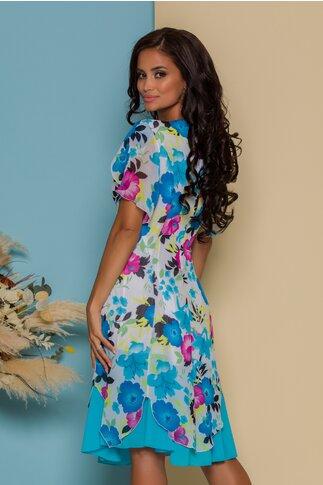 Rochie Dorina alba cu imprimeuri florale albastre si fucsia