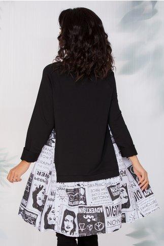 Rochie Dorina casual neagra cu imprimeuri la baza