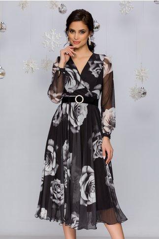 Rochie Dorina neagra din tull cu trandafiri gri