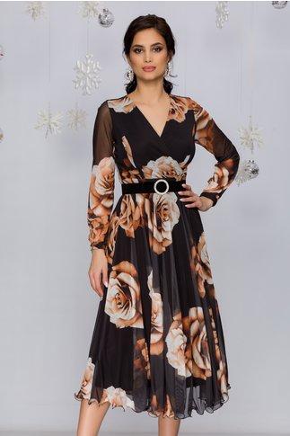 Rochie Dorina neagra din tull cu trandafiri maro