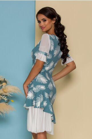 Rochie Dorina turcoaz cu imprimeuri albe si volanase plisate