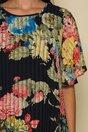 Rochie Dorina vaporoasa neagra cu imprimeuri florale maxi