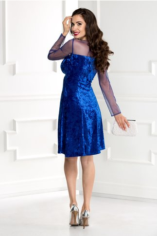 Rochie Doris albastra din catifea cu reflexe