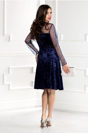 Rochie Doris bleumarin din catifea cu reflexe si perle