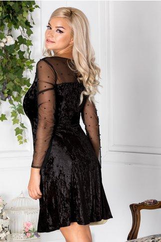 Rochie Doris clos neagra din catifea cu reflexe si perle