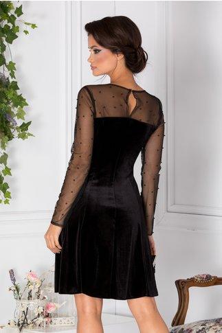 Rochie Doris din catifea neagra cu perle