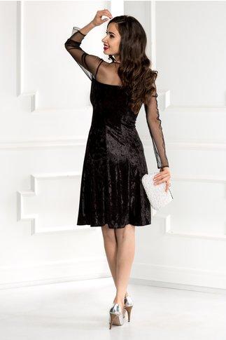 Rochie Doris neagra din catifea cu reflexe