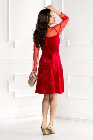 Rochie Doris rosie din catifea cu reflexe