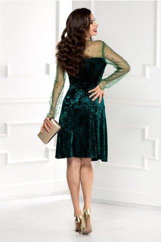 Rochie Doris verde din catifea cu reflexe si perle