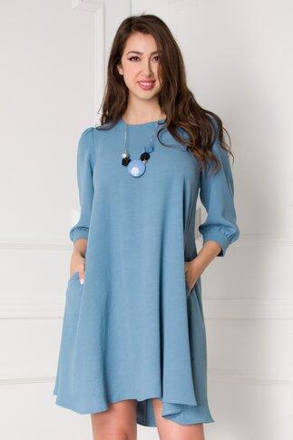 Rochie Dorothy bleu vaporoasa cu nasturi la spate