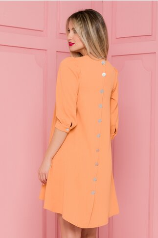 Rochie Dorothy orange vaporoasa cu nasturi la spate