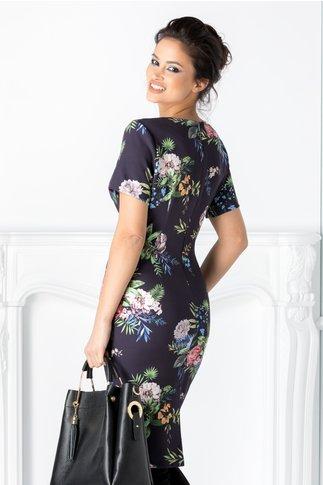 Rochie Dorys bleumarin cu imprimeu floral exotic