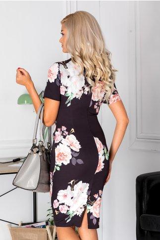 Rochie Dorys neagra cu flori roz