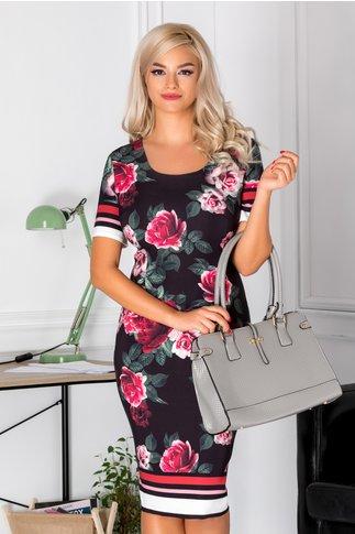 Rochie Dorys neagra cu flori si dungi la maneci si tiv