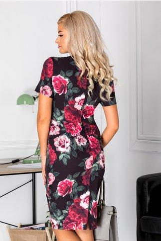 Rochie Dorys neagra cu trandafiri ciclam si roz