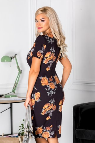 Rochie Dorys neagra cu trandafiri galbeni