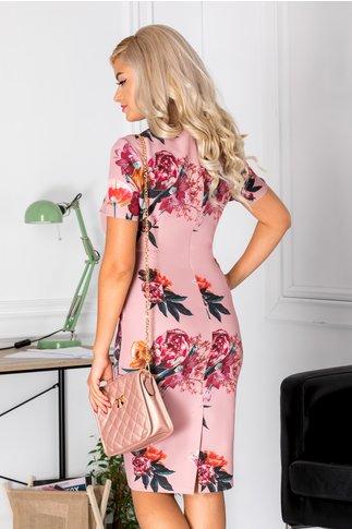 Rochie Dorys roz cu imprimeu floral