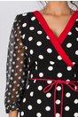 Rochie Dottie neagra cu buline albe, banda decorativa rosie  si maneci din voal