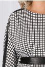 Rochie Ebony alba in carouri cu insertii de piele ecologica neagra