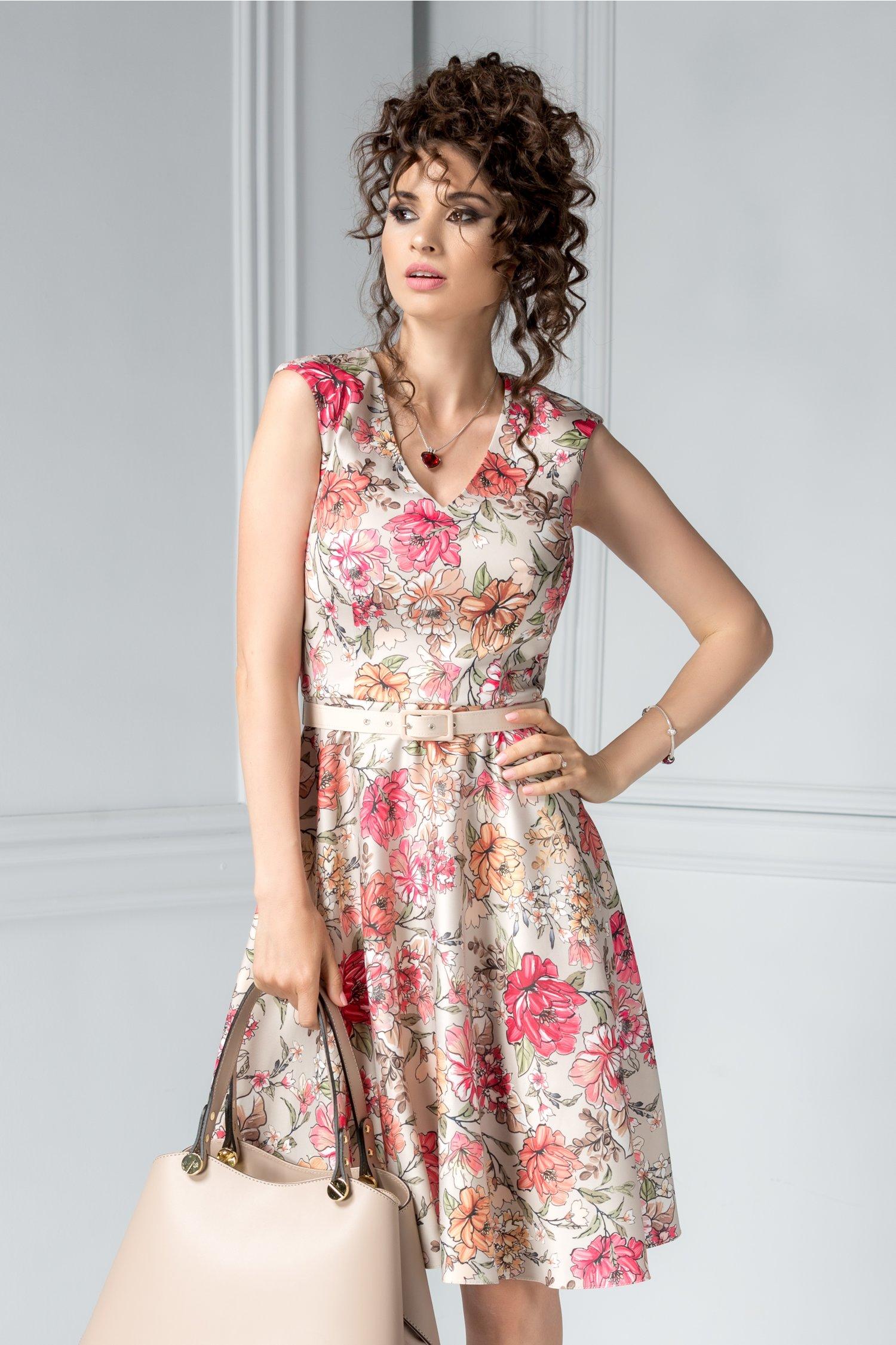 Rochie Eda crem in clos cu imprimeu floral